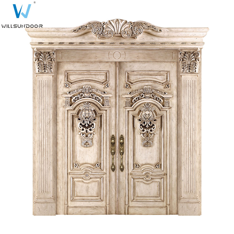 French Style Royal Wood Carved Double Entrace Door/ Luxury Noble Classic Beige Villa Entrance Door