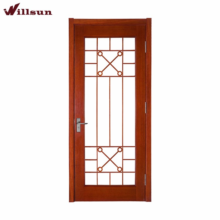 Sapele wood color full lite bathtub shower glass door
