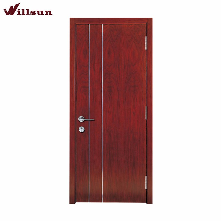Modern rosewood veneer door designs aluminium inlay for bedroom